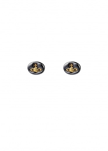 Embossed Logo Stud Earrings - Gunmetal