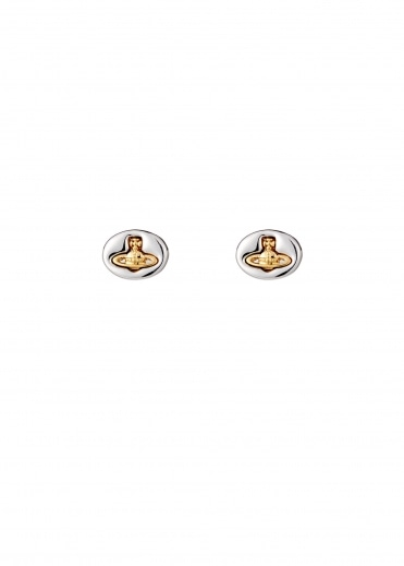 Embossed Logo Stud Earrings - Rhodium / Gold