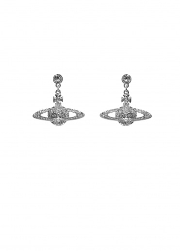 Bas Relief Drop Earrings - Rhodium