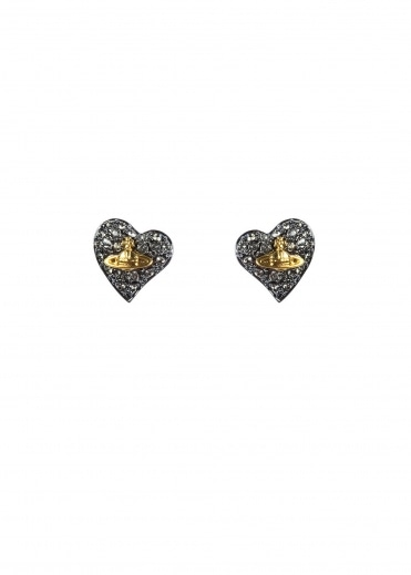Tiny Diamante Earrings - Gunmetal