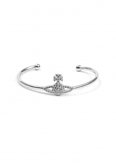Grace Open Bangle - Rhodium