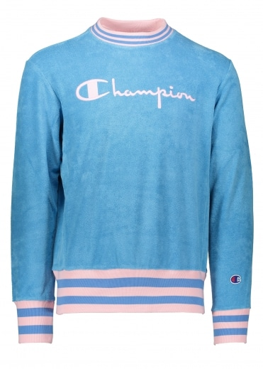 Towelling Sweater - Blue/Pink