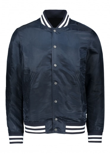 Embroidered Stadium Jacket - Navy