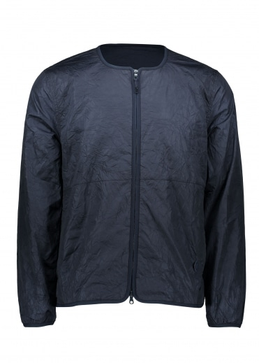 Collarless Nylon Jacket - Navy