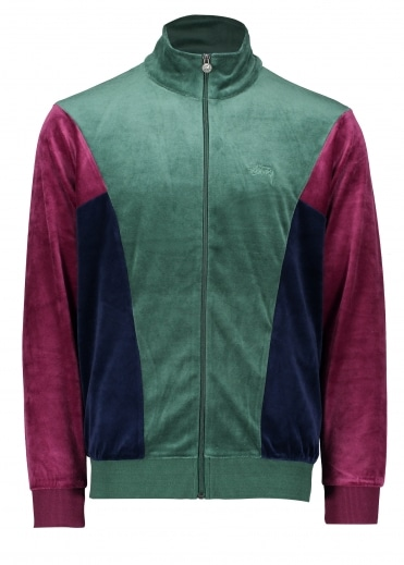 Velour Paneled Track Jacket - Green