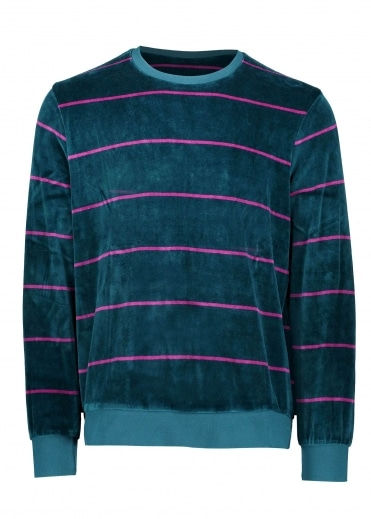 Stripe Velour Crew - Dark Teal