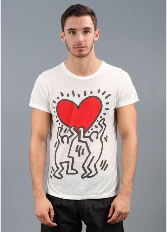 Obey X Keith Haring Red Heart T Shirt White