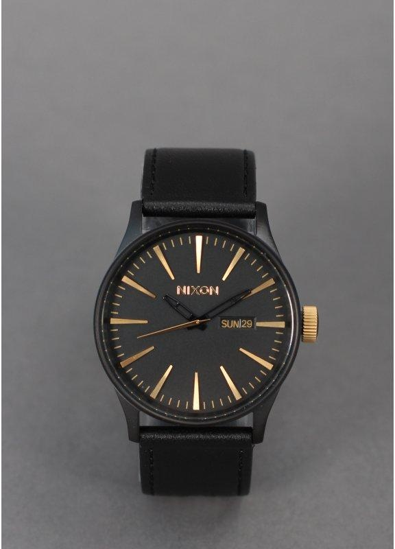 Nixon Watches Sentry Leather Black Gold