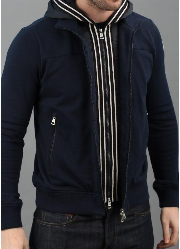 Moncler Zip Hooded Track Top Navy Blue b455e2822
