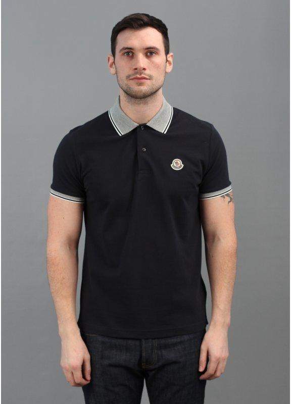 Block Collar Polo Shirt Navy Blue