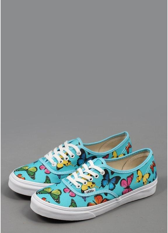 best prices on feet shots of high fashion Vans Authentic Slim Butterfly Print Shoes - Blue