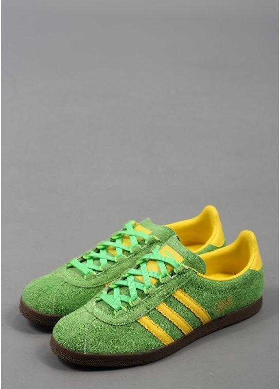 green and yellow adidas gazelle