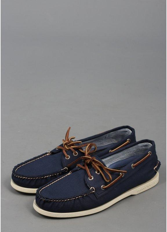 sperry a o 2 eye canvas boat shoes navy