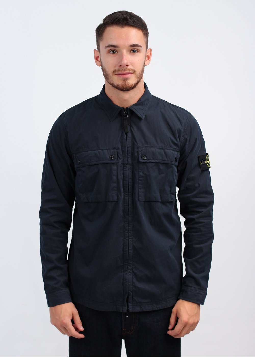 Stone Island Brushed Cotton Canvas Over Shirt - Navy Blue