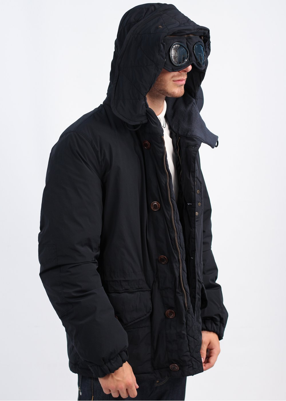 a6ffaf97e C.P. Company Nycra Garment Dyed Goggle Coat - Navy Blue