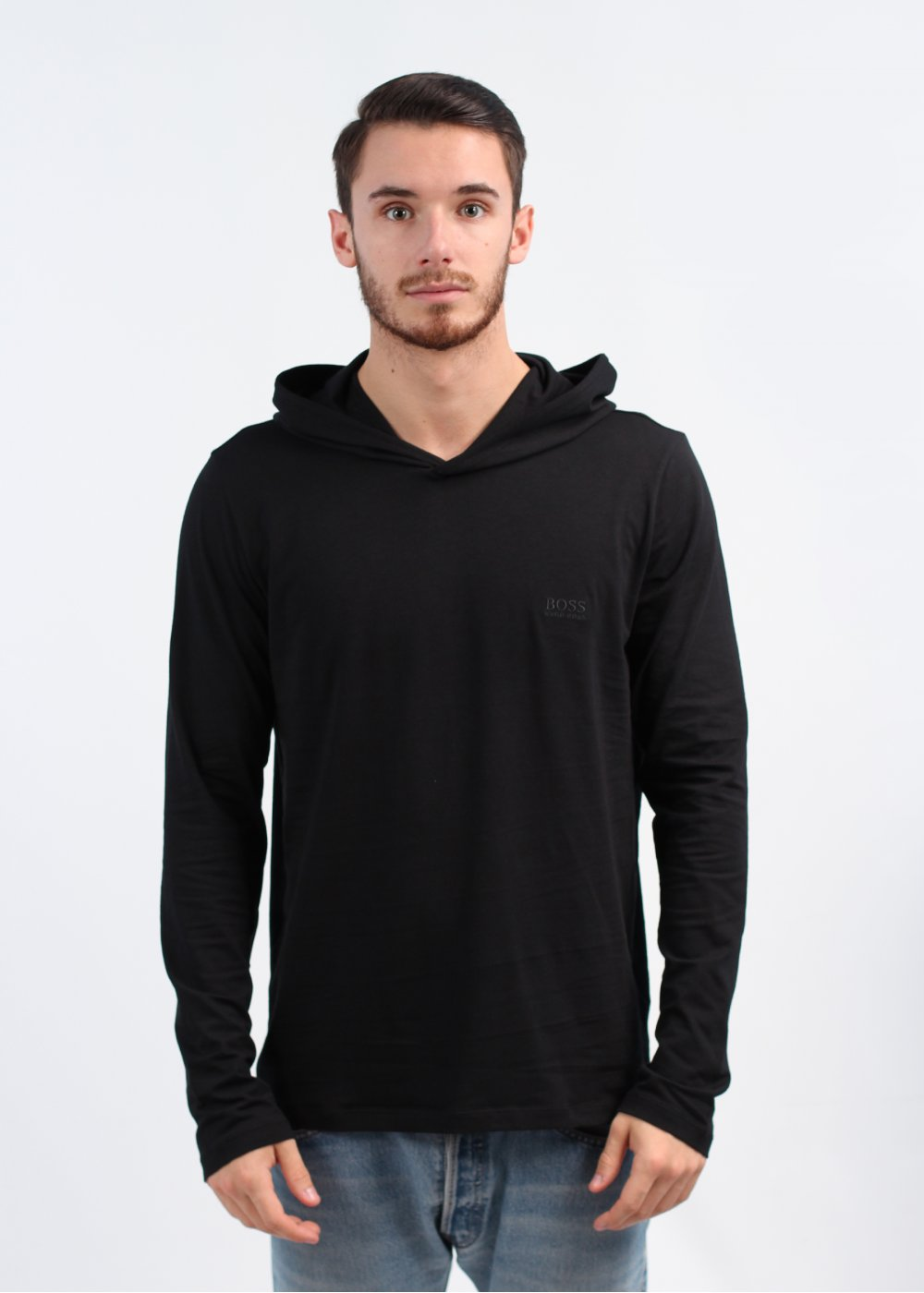1b195893f Hugo Boss Black Long Sleeve Hooded Shirt - Black