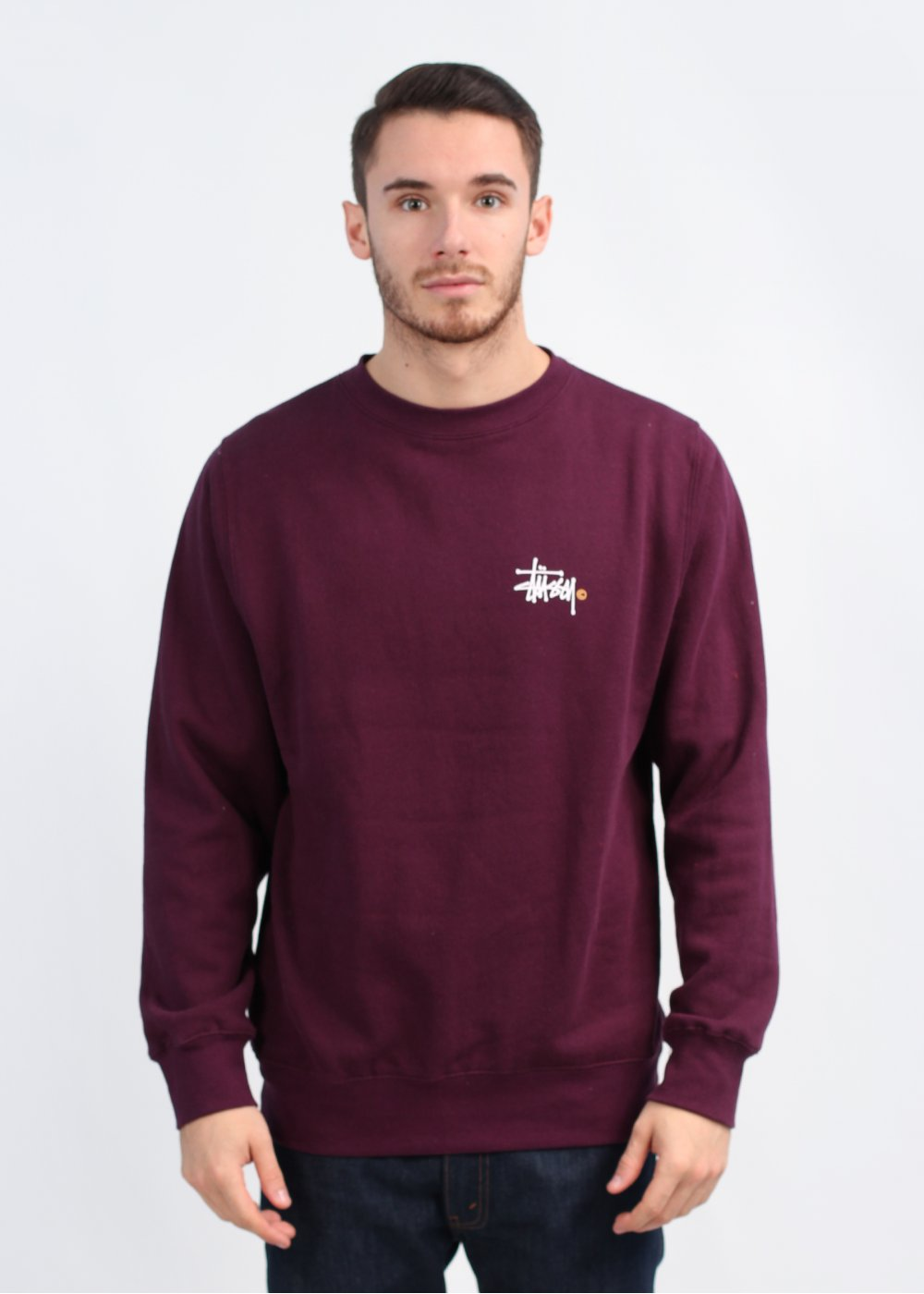 Stussy Clothing Uk Stockists Basic Logo Crew Sweatshirt