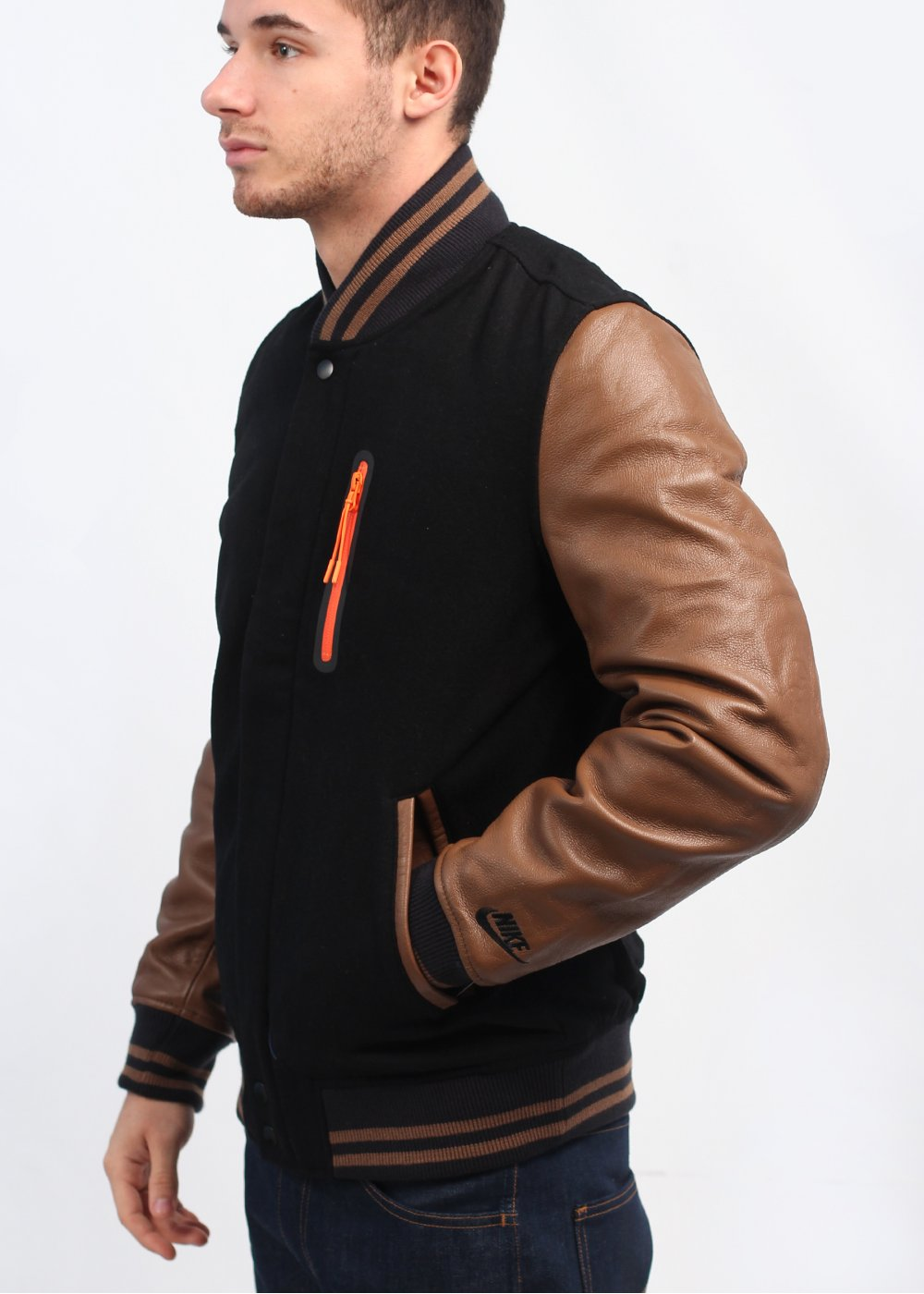 Nike Destroyer Varsity Jacket - Black / Military Brown