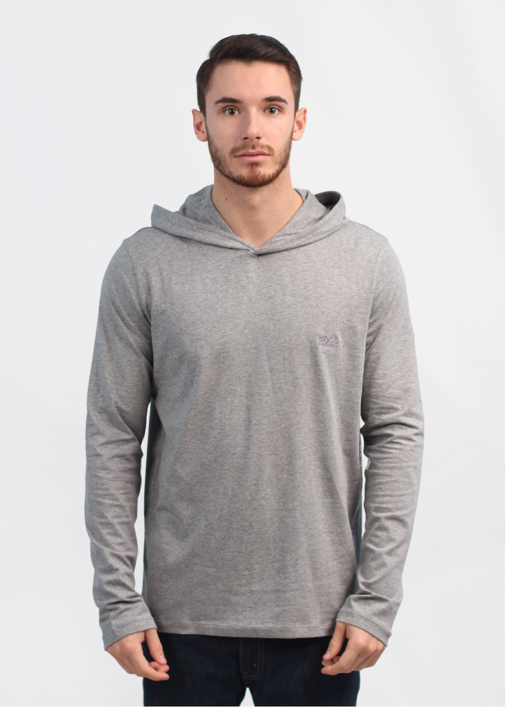 Boss Black Hooded Long Sleeve Shirt - Medium Grey