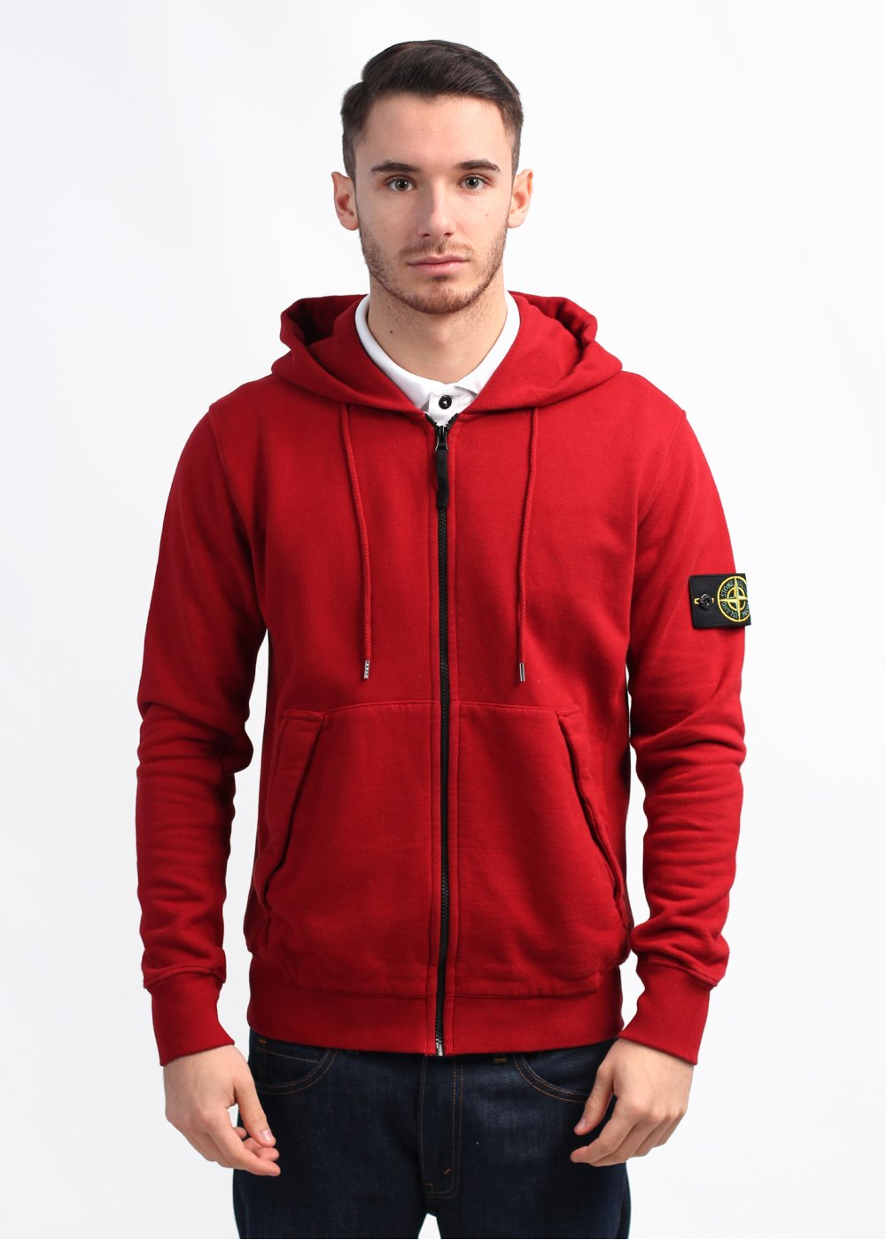 stone island zip hoody red. Black Bedroom Furniture Sets. Home Design Ideas