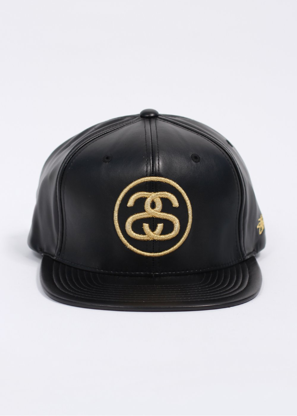 Stussy SS Link Leather Ball Cap - Black   Gold 642d08693059