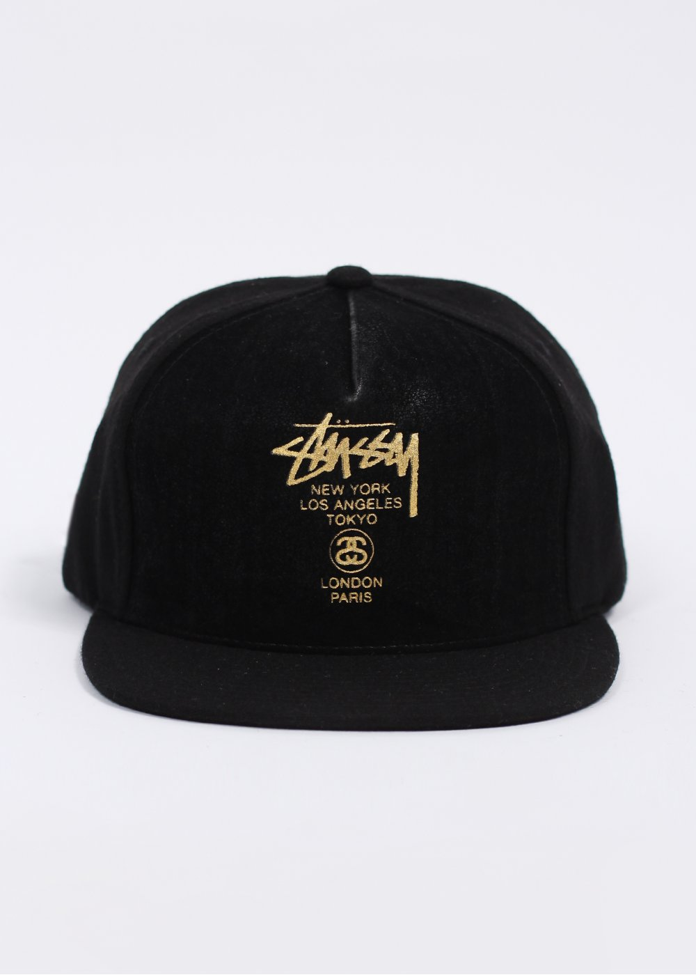 Stussy World Tour Leather Front Ball Cap - Black 374fc1896ab