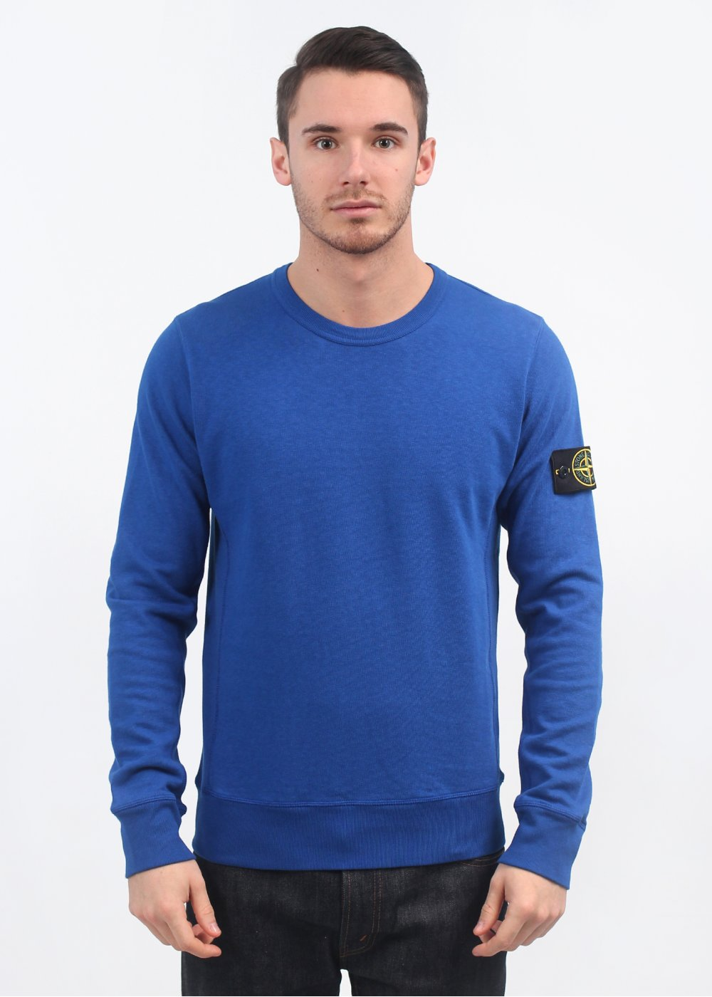 stone island crew neck sweater blue. Black Bedroom Furniture Sets. Home Design Ideas