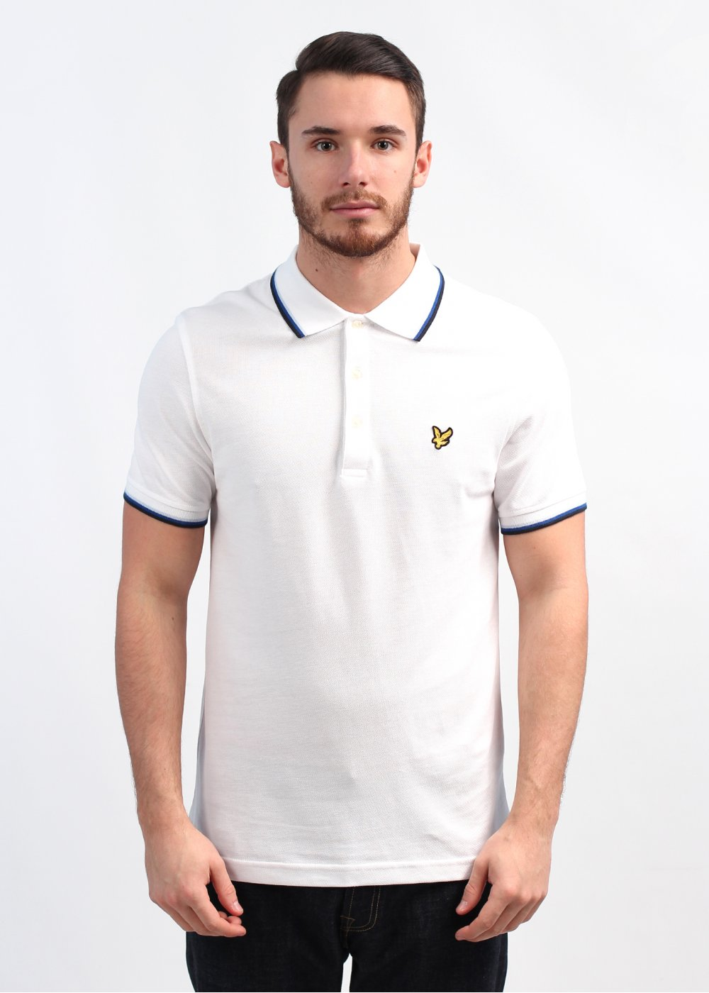 lyle scott vintage tipped pique polo shirt white. Black Bedroom Furniture Sets. Home Design Ideas