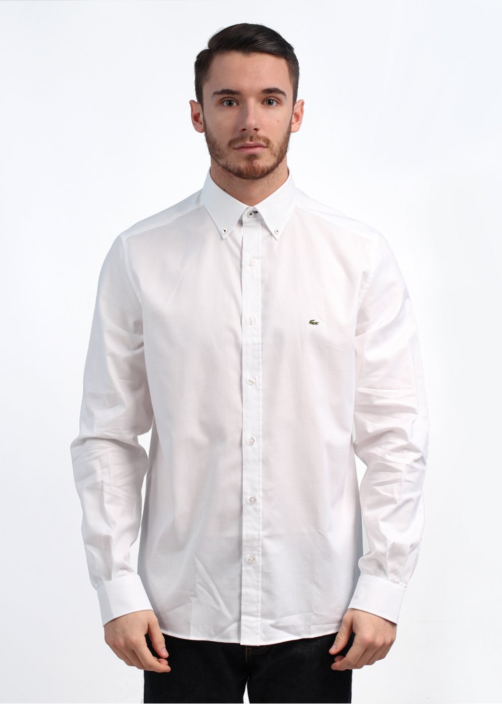 89ef48ed20 Lacoste Long Sleeved Woven Shirt - White
