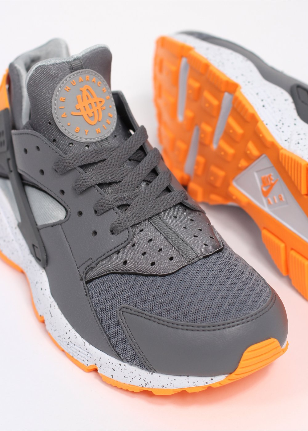 2cb0a37289a2f Nike Air Huarache Run Trainers - Cool Grey   Atomic Orange