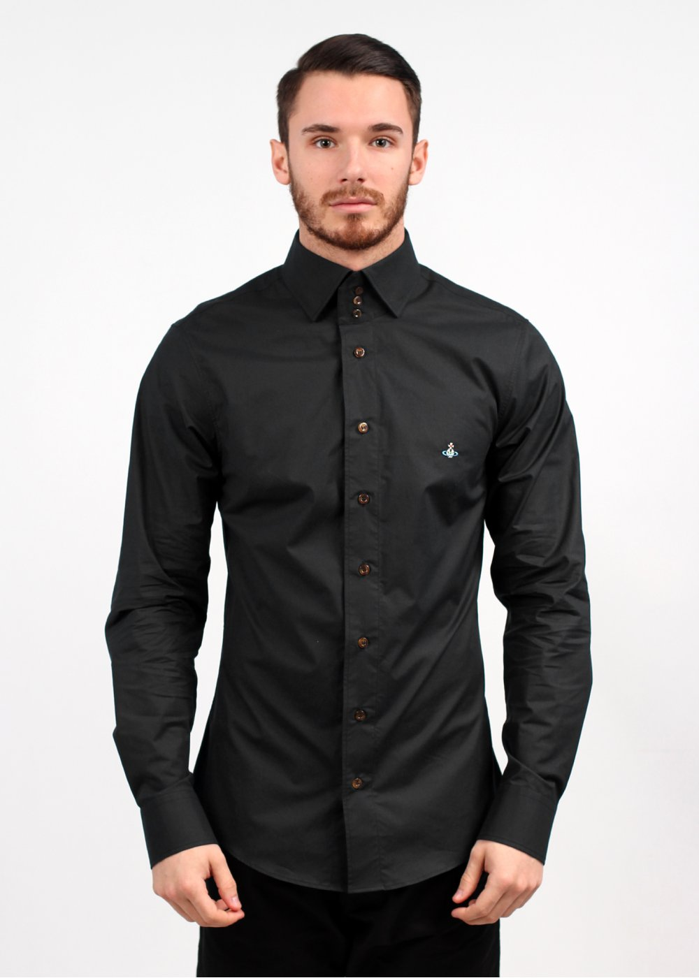 4fa14e13fba81 Vivienne Westwood 3 Button Collar Shirt - Black