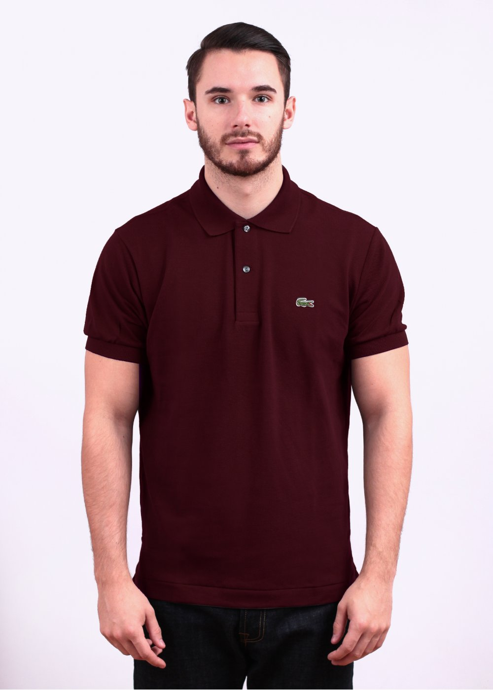 7804db9bd766e Lacoste Short Sleeve Logo Polo Shirt - Maroon