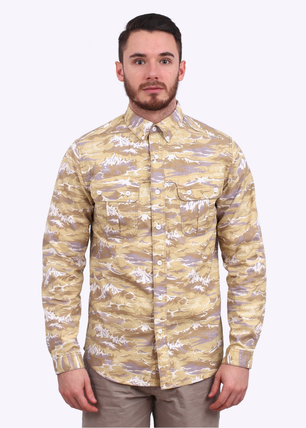 8755479ae61c Barbour x White Mountaineering Wave Shirt - Stone Wave Print