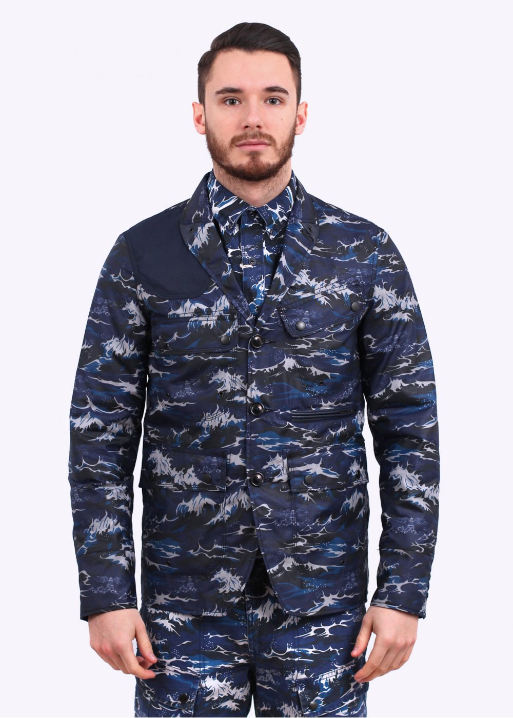 2bcadb5ec836 Barbour x White Mountaineering Wave Lapel Jacket - Navy Wave Print