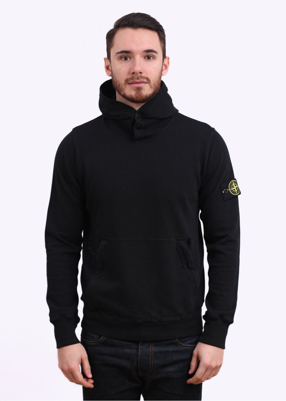 stone island garment dyed vintage hooded sweater black. Black Bedroom Furniture Sets. Home Design Ideas