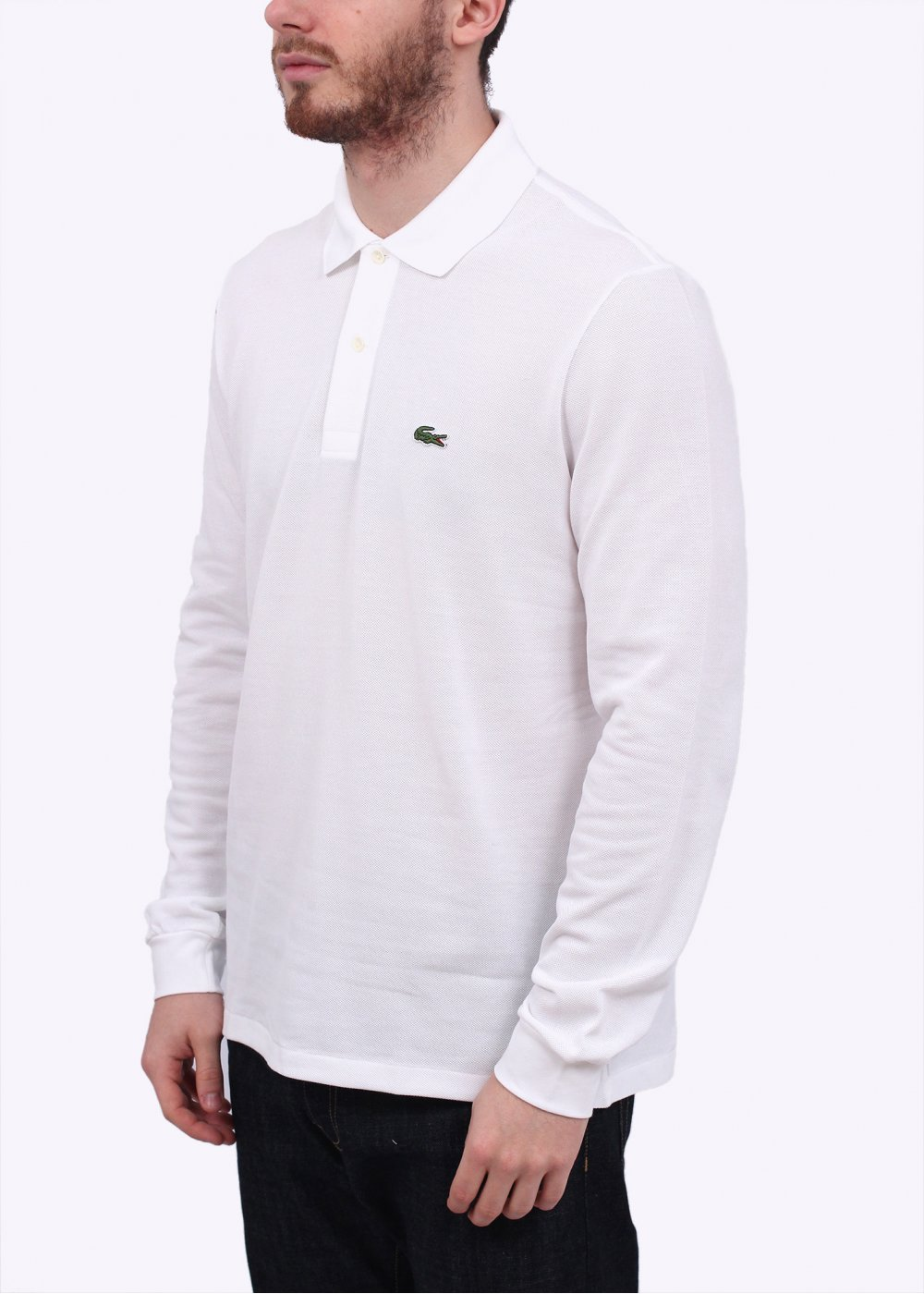 504350c9 Lacoste Long Sleeve Polo Shirt - White