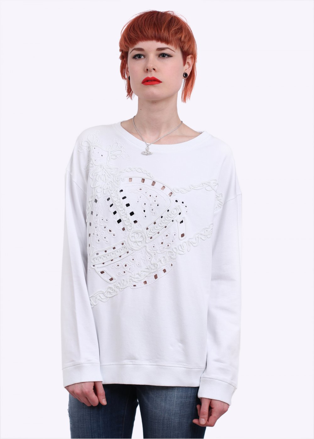 Vivienne Westwood Anglomania Jeans Orb Embroidery Sweater - White ...