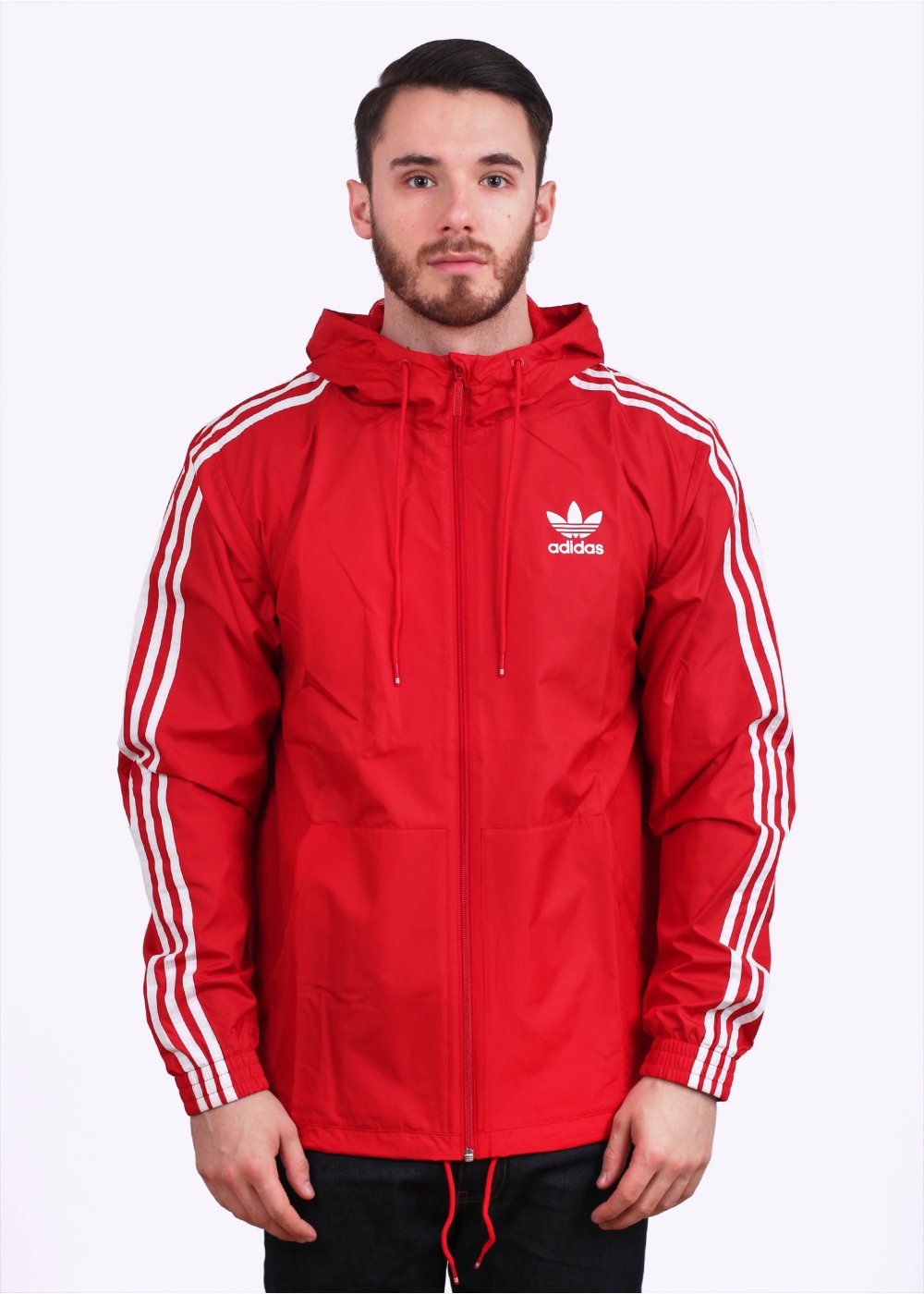 adidas originals itasca hooded windbreaker scarlet red. Black Bedroom Furniture Sets. Home Design Ideas