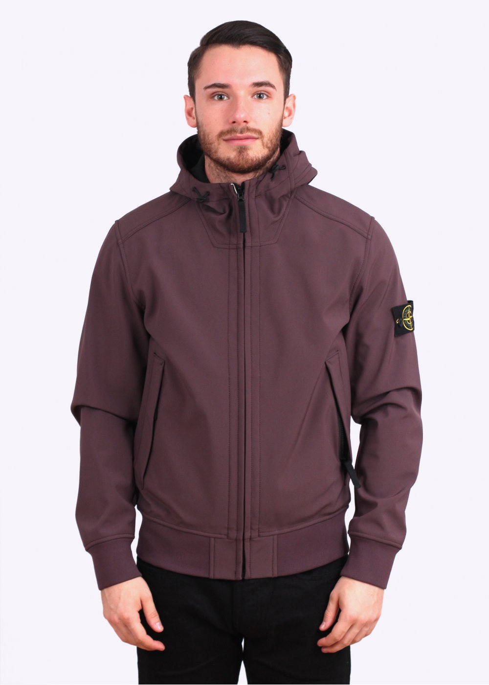 stone island soft shell r hooded bomber jacket purple. Black Bedroom Furniture Sets. Home Design Ideas
