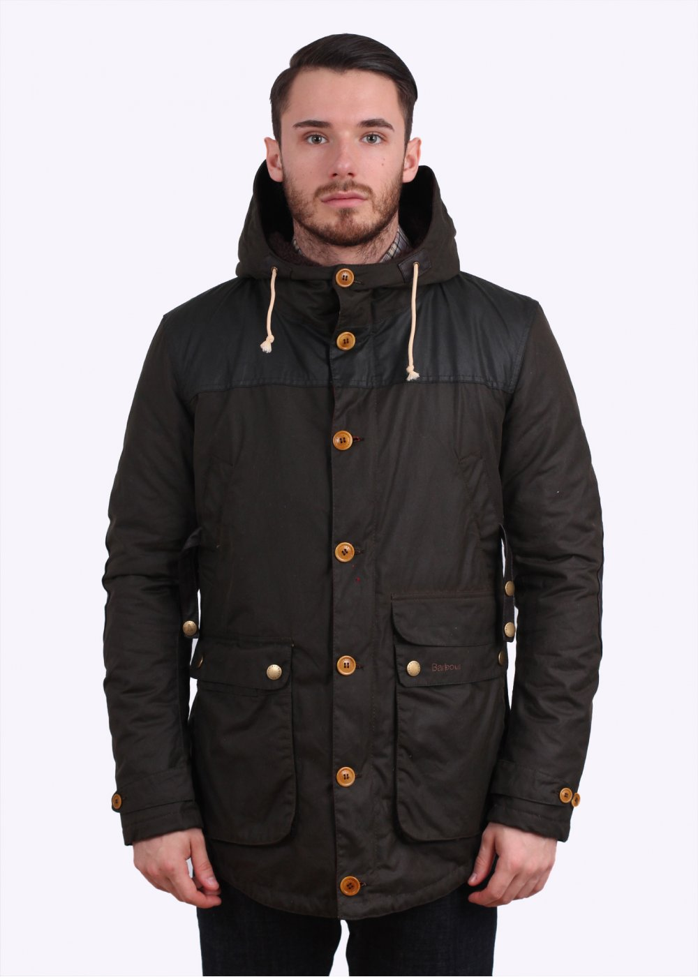Barbour game parka waxed olive jacket