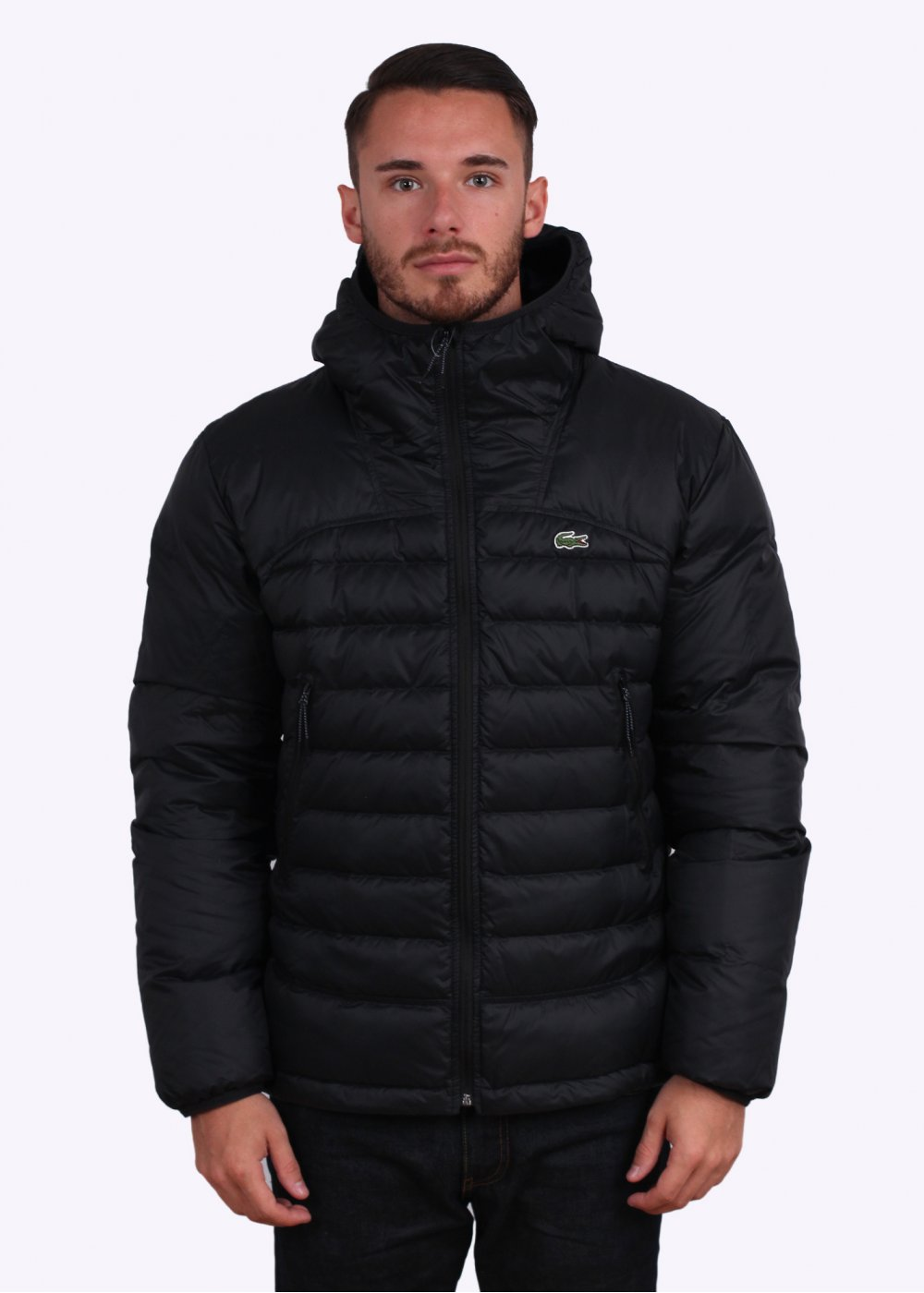 vente chaude en ligne 7a319 04d37 Lacoste Padded Hooded Jacket - Black