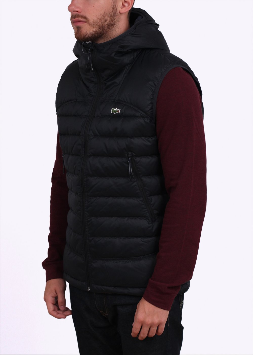 Gilet Down Hooded Black Lacoste Hooded Lacoste YtI1t