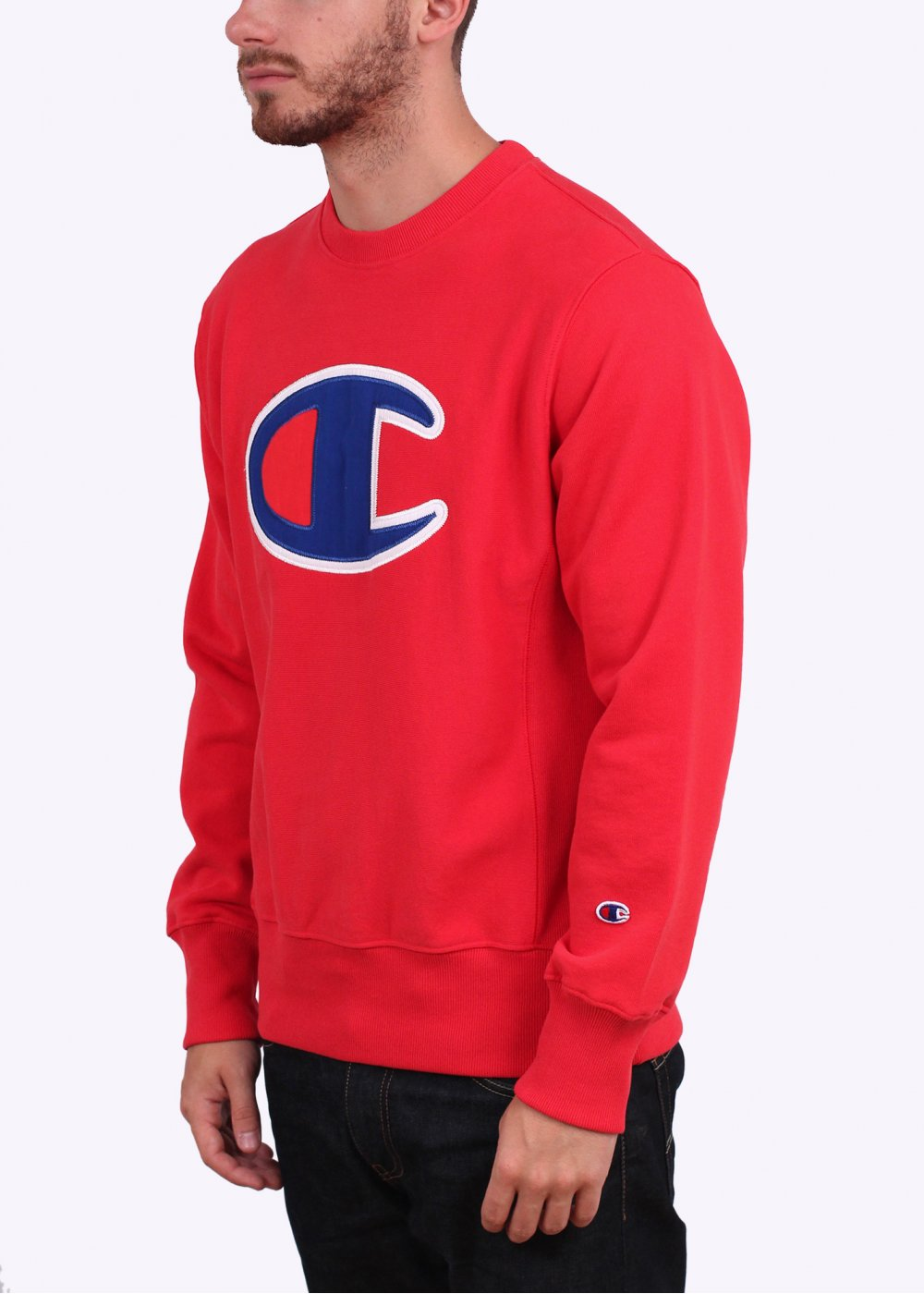 Champion Reverse Weave Large Logo Sweater - Red