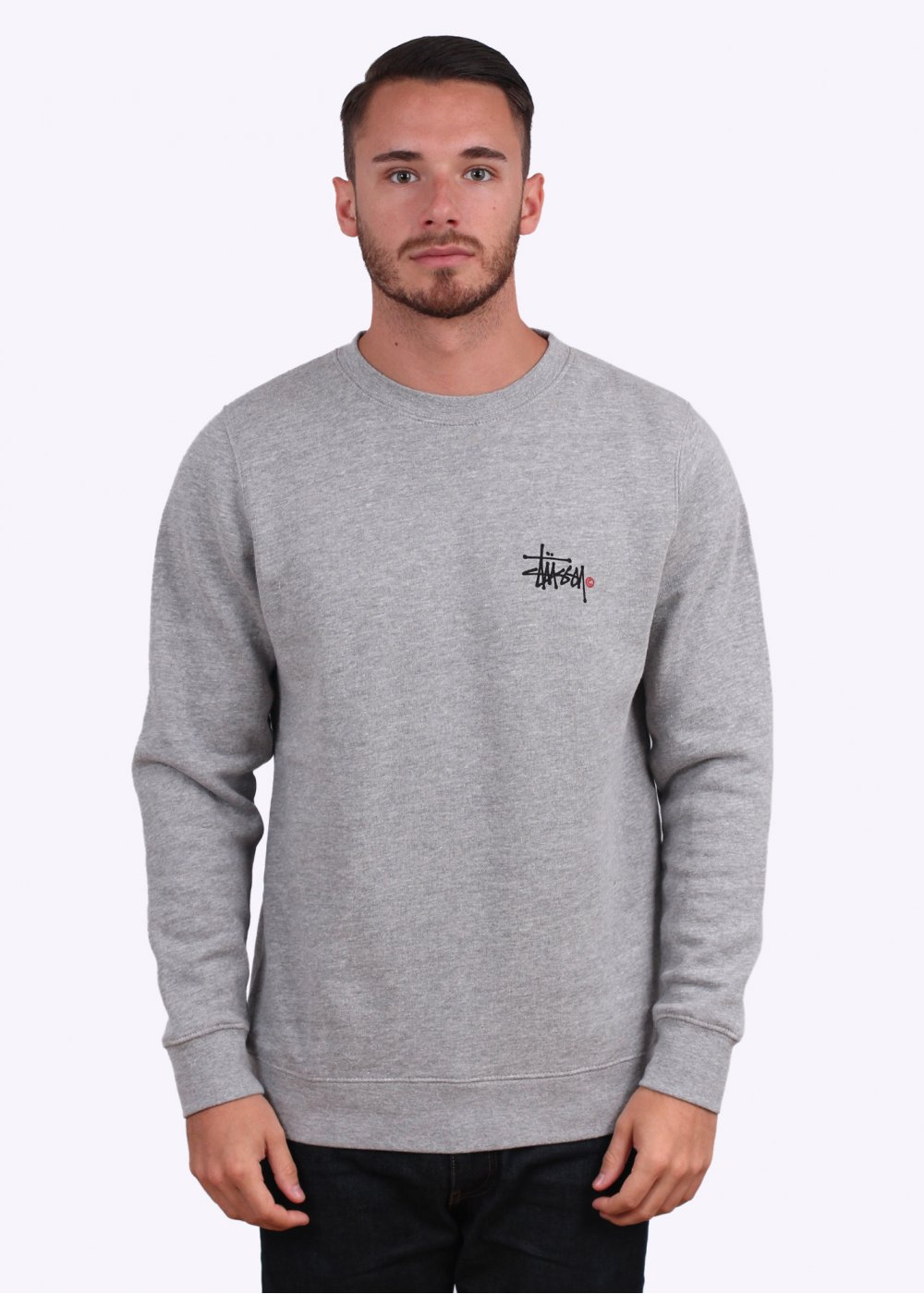 Basic Logo Crew Sweater - Grey Heather