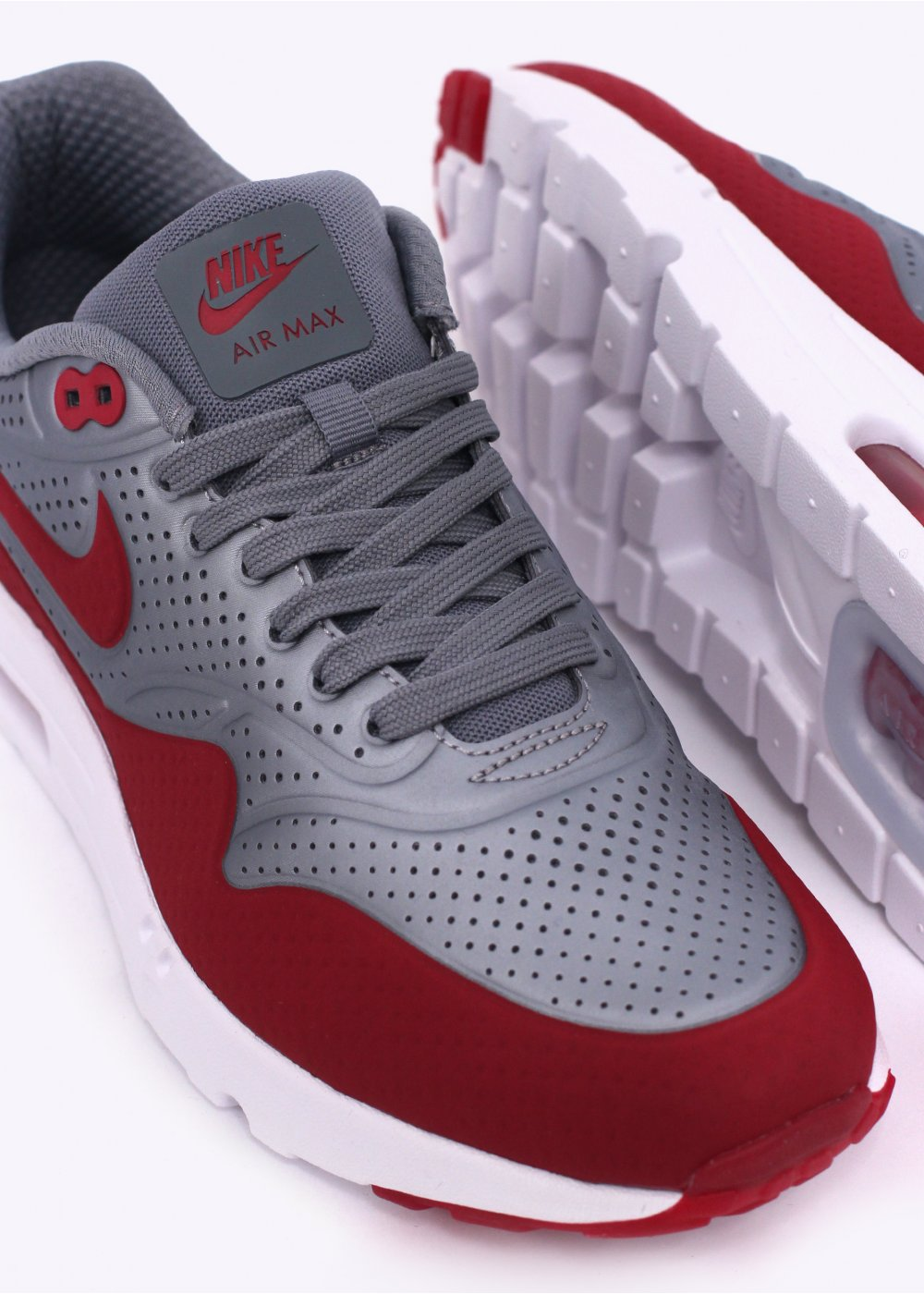 wholesale dealer fa256 53256 Air Max 1 Ultra Moire Trainers - Metallic Cool Grey   Gym Red