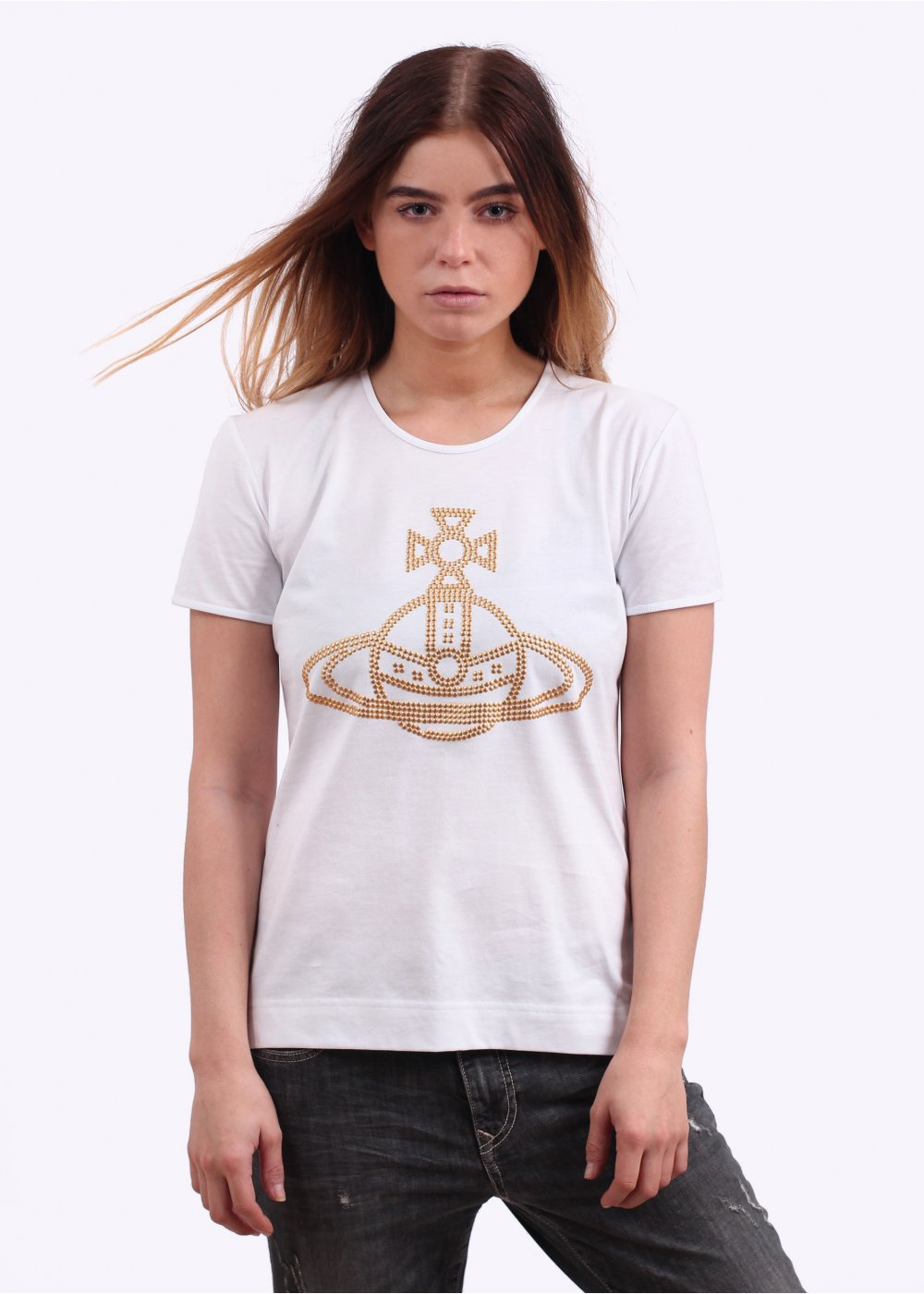 6c15218a81 Vivienne Westwood Womens Stud Orb T-Shirt - White - Tops from Triads UK