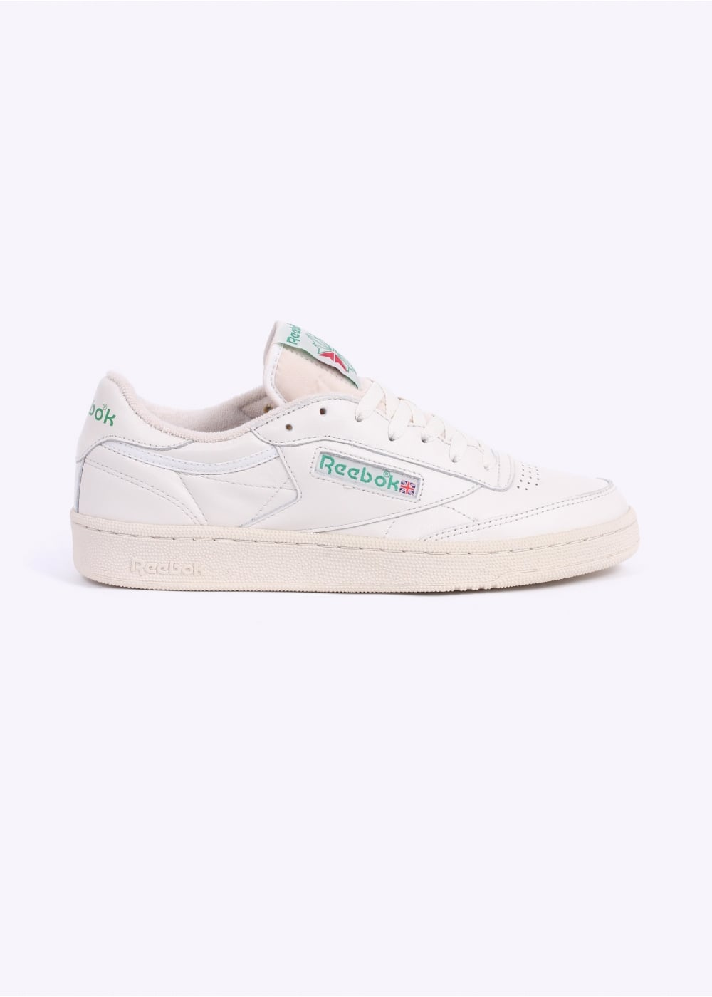 37f2bf07642 Reebok Club C 85 Vintage Trainers - Chalk   Green - Triads Mens from ...