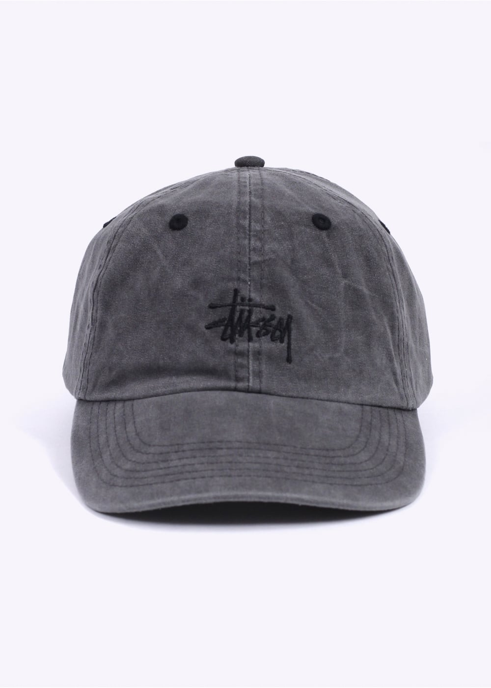 Stussy Smooth Stock Enzyme Wash Cap - Black 851292bbbcc