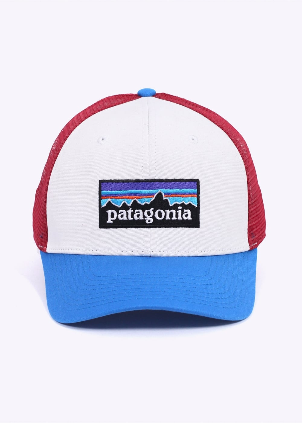 8cf9909b02f Patagonia P-6 Logo Trucker Hat - White   Andes Blue