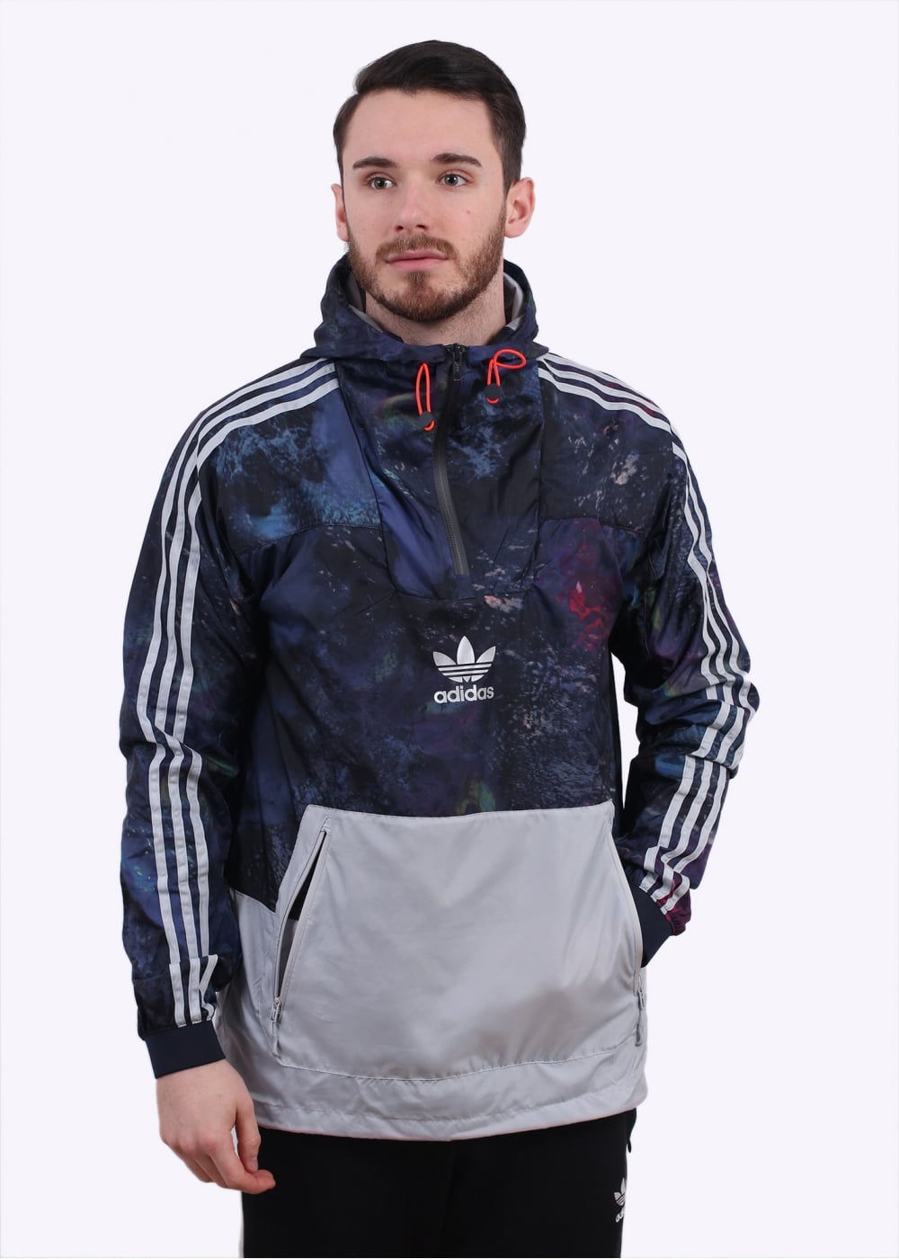 adidas originals apparel cosmic aop run windbreaker blue. Black Bedroom Furniture Sets. Home Design Ideas